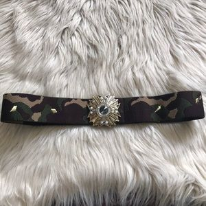 Accessories - Camouflage Jeweled Stretch Belt